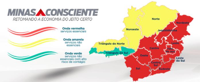 Comitê Covid-19 mantém dez regiões na onda vermelha do Minas Consciente.
