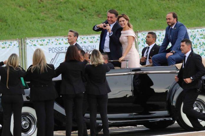 Presidente eleito Jair Bolsonaro chega ao Congresso Nacional para a solenidade de posse.