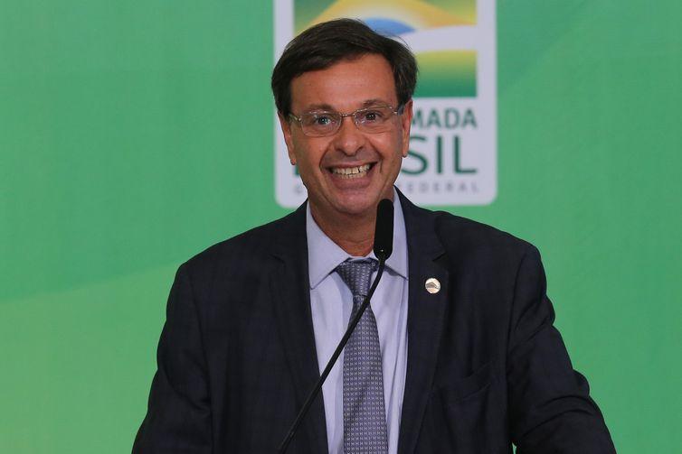 Ministro do Turismo, Gilson Machado, durante a solenidade de anúncio do Sistema de Avaliação de Impacto ao Patrimônio e lançamento do Guia Brasileiro de Sinalização Turística.