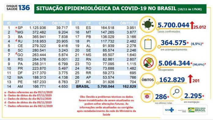 Situação epidemiológica da Covid-19 no Brasil 10/11/2020