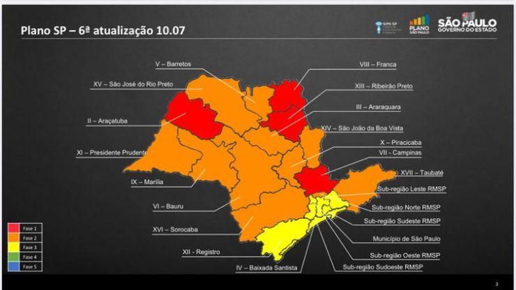 Mapa das regiões SP