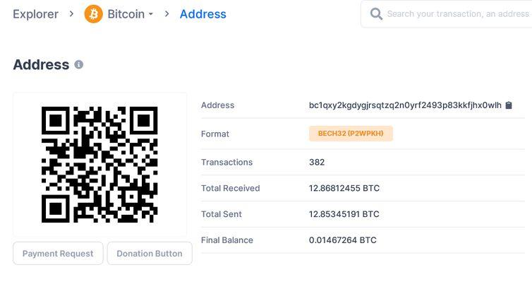 Registro do site blockchain.com mostra que dinheiro levantado foi recebido e transferido para outras contas.
