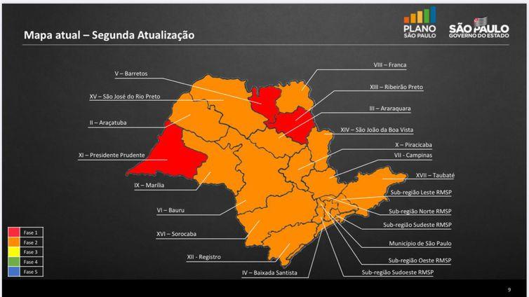 Níveis de restrições de atividades por região a partir de 15 de junho.