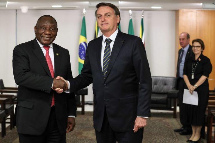O presidente da República da África do Sul, Cyril Ramaphosa, durante encontro com o presidente da república do Brasil,Jair Bolsonaro