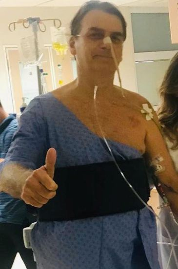 Brazil's President Jair Bolsonaro thumbs up as he is hospitalised at Albert Einstein Hospital in Sao Paulo, Brazil, February 7, 2019. Brazilian Presidency/Handout via REUTERS ATTENTION EDITORS - THIS IMAGE HAS BEEN SUPPLIED BY A THIRD PARTY.