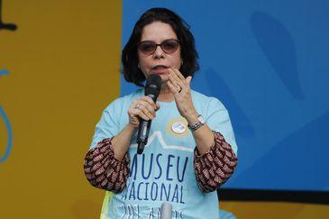 A reitora nomeada da Universidade Federal do Rio de Janeiro (UFRJ), Denise Pires de Carvalho fala durante evento em comemoração aos 201 anos do Museu Nacional na Quinta da Boa Vista, no Rio de Janeiro.