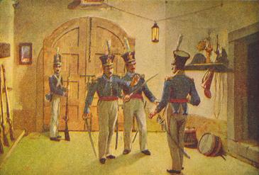 Neste episódio da Revolução do Porto, o Capitão Sousa Magalhães e o Tenente Paulo Correia impedem entrada do Coronel Grant no Regimento de Infantaria n.º 6.