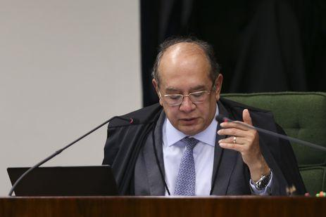 O ministro do STF, Gilmar Mendes durante o julgamento dos processos contra José Serra e Aécio Neves.