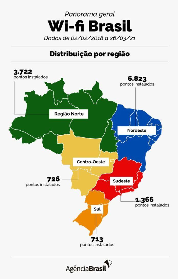 Wi-fi Brasil, por regiões.