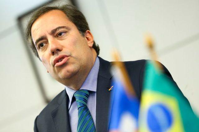 """O presidente da Caixa Econômica Federal, Pedro Guimarães, durante entrevista coletiva para apresentar detalhes da campanha de renegociação de dívidas """"Você no Azul""""."""