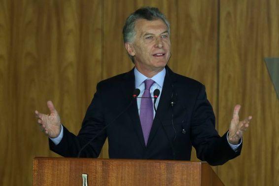 O presidente da Argentina, Mauricio Macri , durante declaração à imprensa