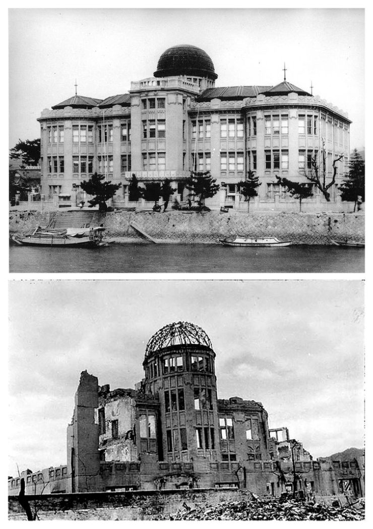 Doma de Hiroshima antes e depois da bomba atômica.