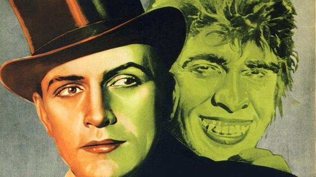 Curiosamente, o cartaz da versão cinematográfica, de 1931, usa a cor verde no alter ego...