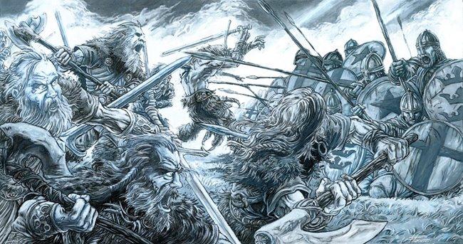 Ilustração de uma batalha entre os saxões (esquerda) e britânicos (direita)