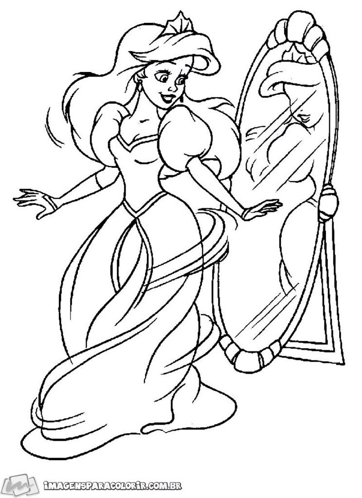 Pequena Sereia - Ariel se olhando no espelho