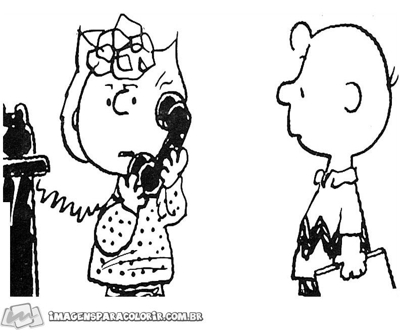 Snoopy para colorir - Charlie Brown e Sally