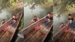 [VIDEO] Sorprenden a un hombre desnudo bañándose con una niña en un río