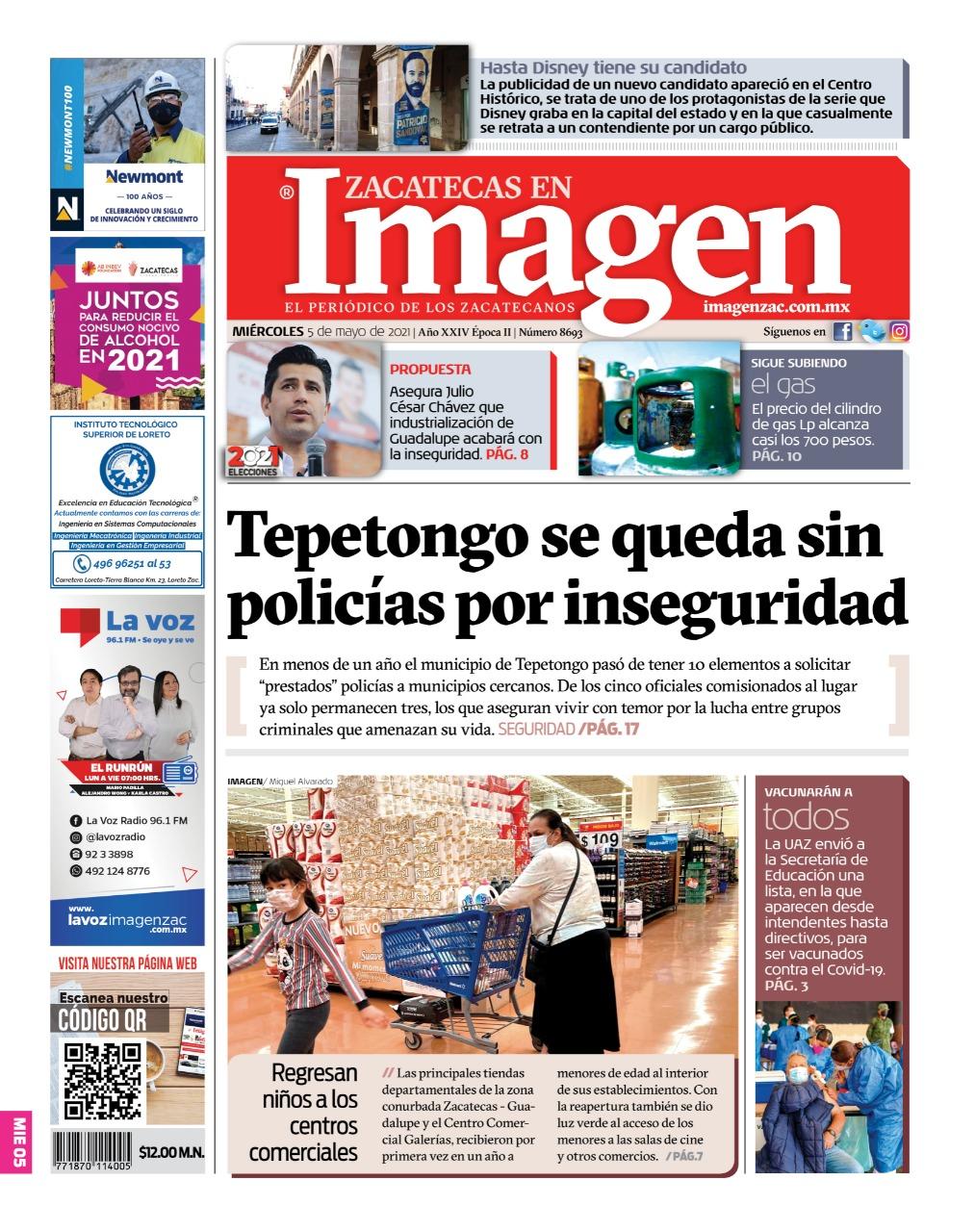 Imagen Zacatecas edición del 05 de mayo del 2021