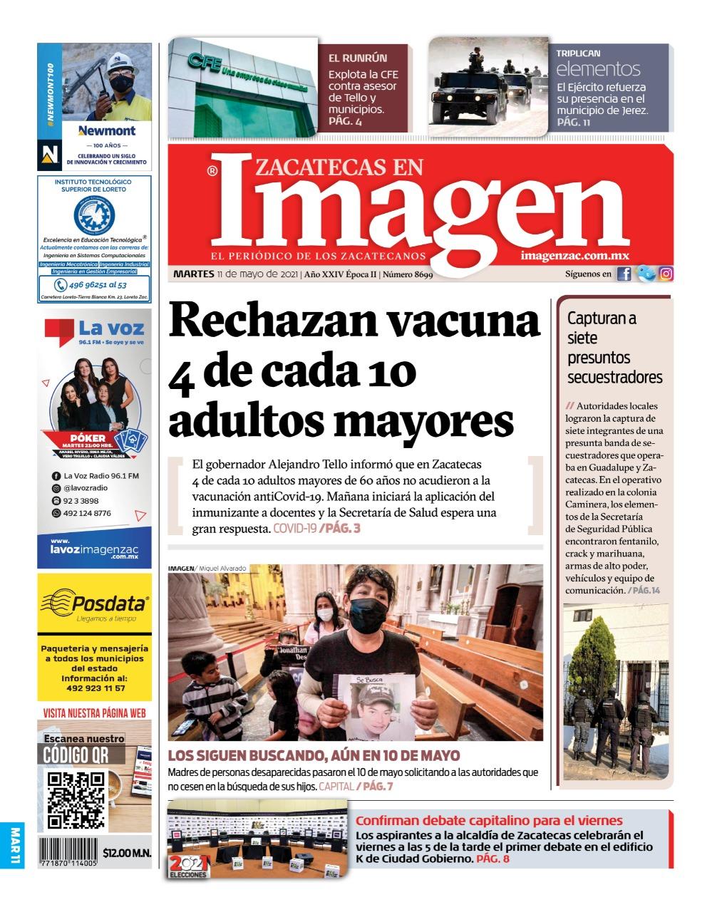 Imagen Zacatecas edición del 11 de mayo del 2021