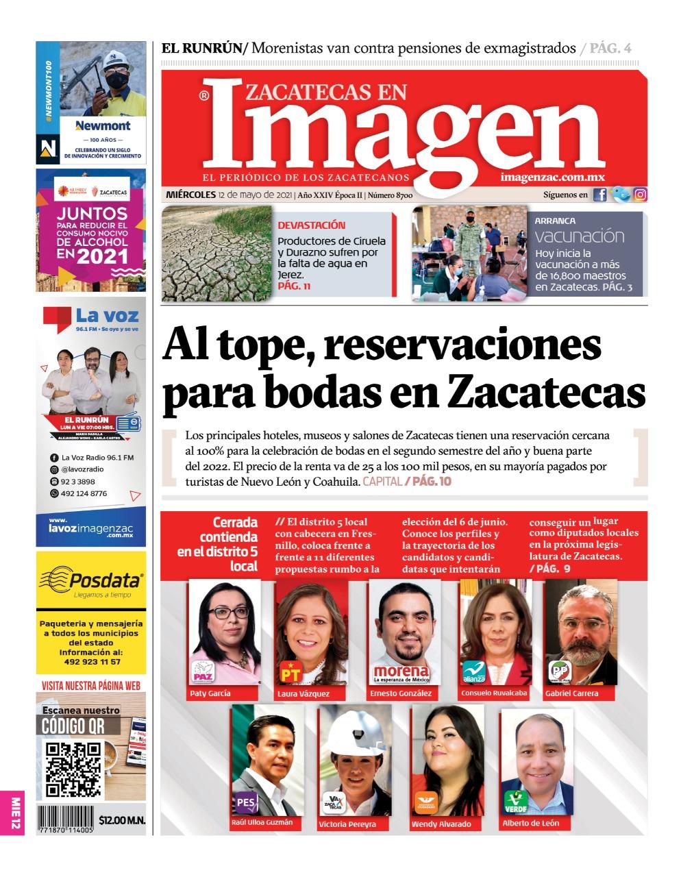 Imagen Zacatecas edición del 12 de mayo del 2021