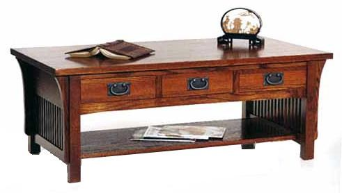 crafts cocktail table with 3 drawers