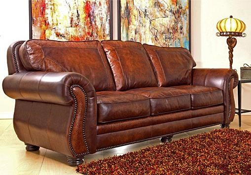 traditional leather stationary sofa