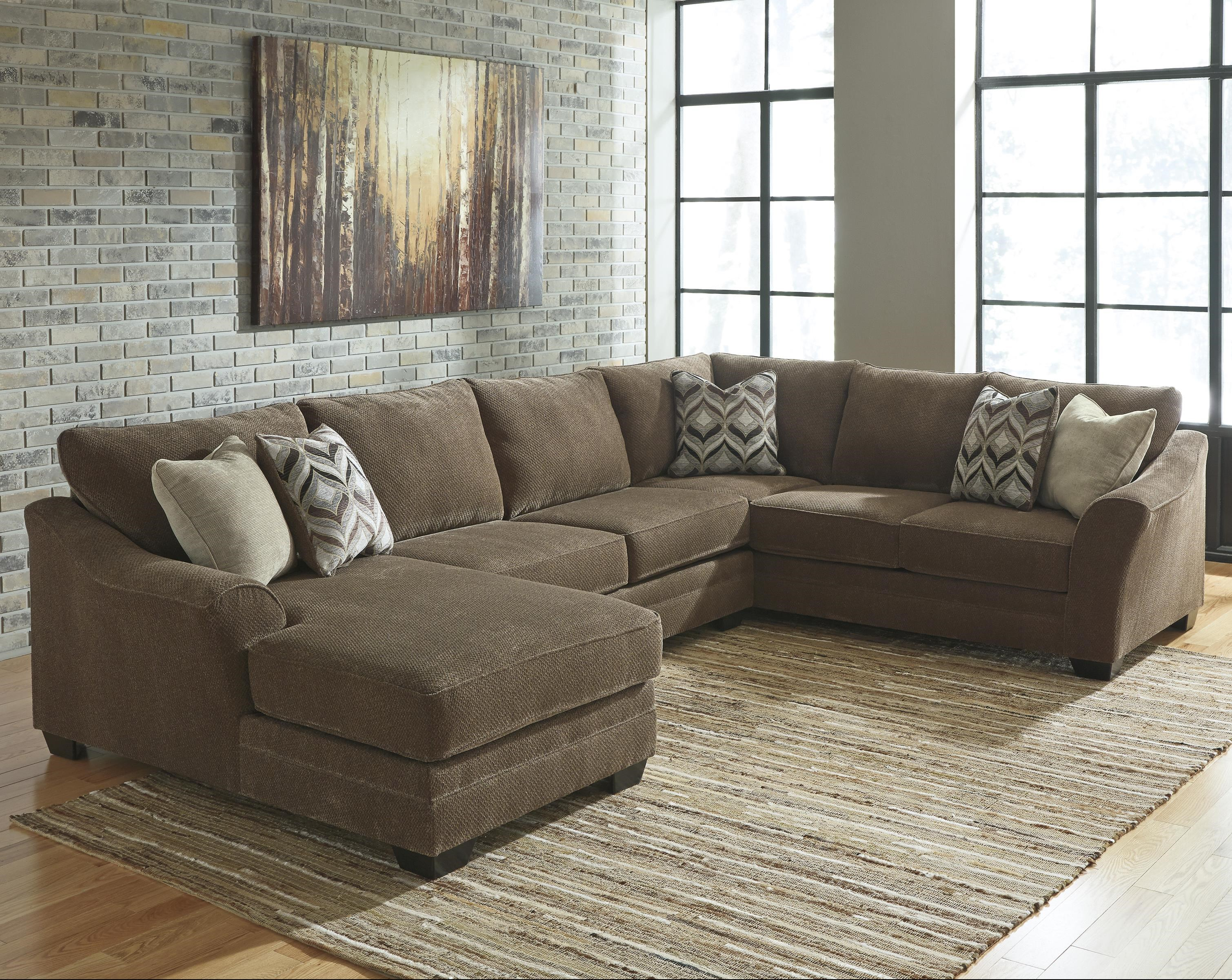 Benchcraft Justyna Contemporary 3 Piece Sectional With Left Chaise Walkers Furniture