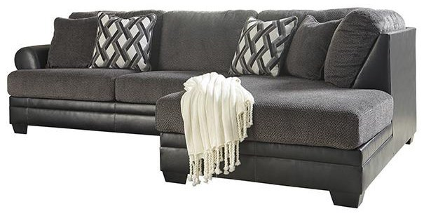 2 piece fabric faux leather sectional with right chaise at sadler s home furnishings