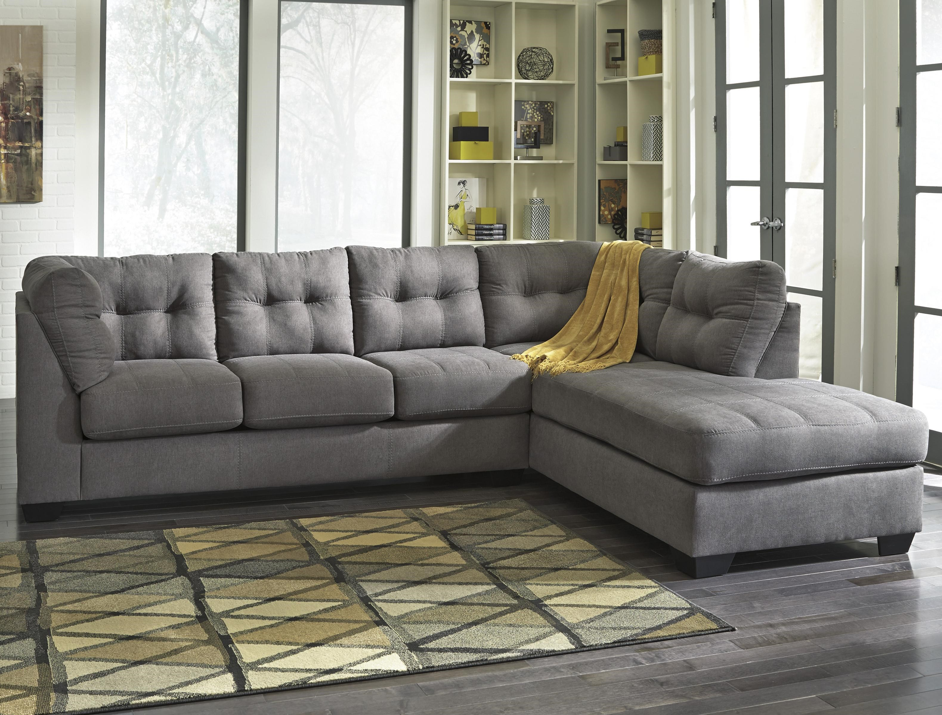 maier charcoal 2 piece sectional with right chaise
