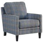 Benchcraft By Ashley Traemore Checker Print Blue Accent Chair Royal Furniture Upholstered Chairs