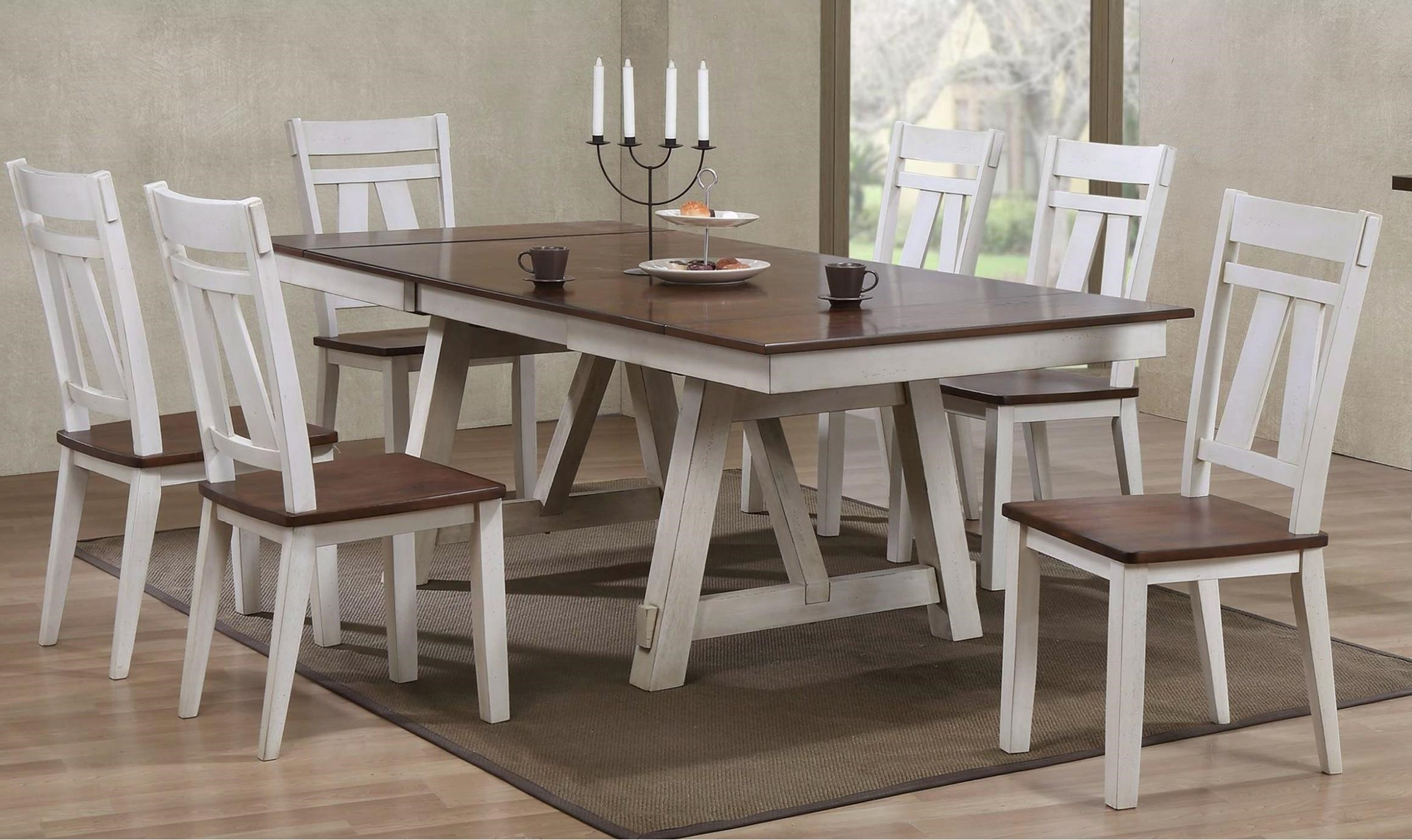 Bernards Winslow 7 Piece Two Tone Refectory Table Set Royal Furniture Dining 7 Or More Piece Sets