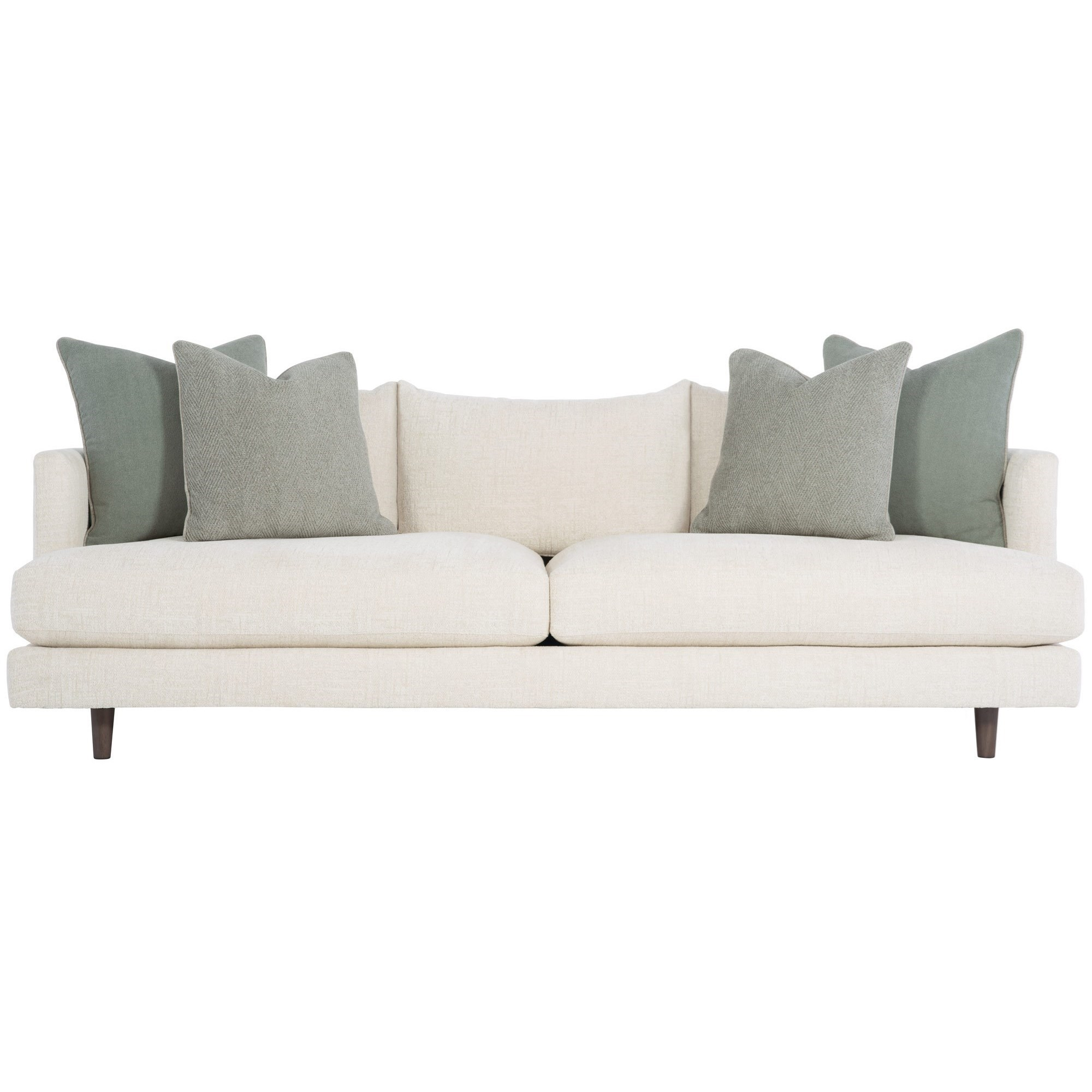 Bernhardt Colette Mid Century Modern Sofa With Down Seat Cushions And Throw Pillows Wayside Furniture Sofas