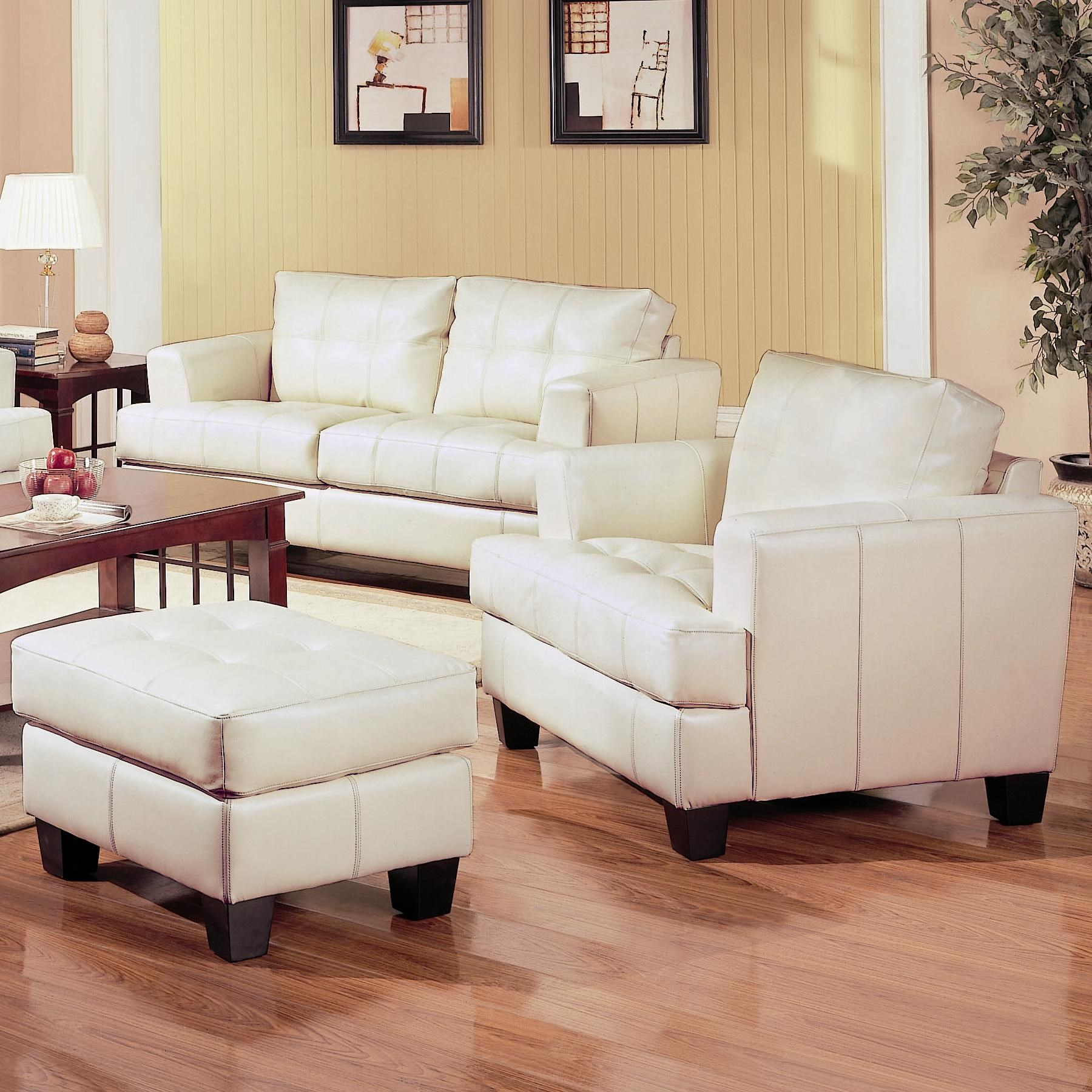 Samuel Contemporary Leather Chair And Tufted Leather Ottoman By Coaster At Knight Furniture Mattress