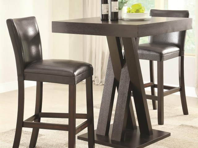 Coaster Bar Units And Bar Tables Three Piece Bar Height Table And Stools Set Dunk Bright Furniture Pub Table And Stool Sets