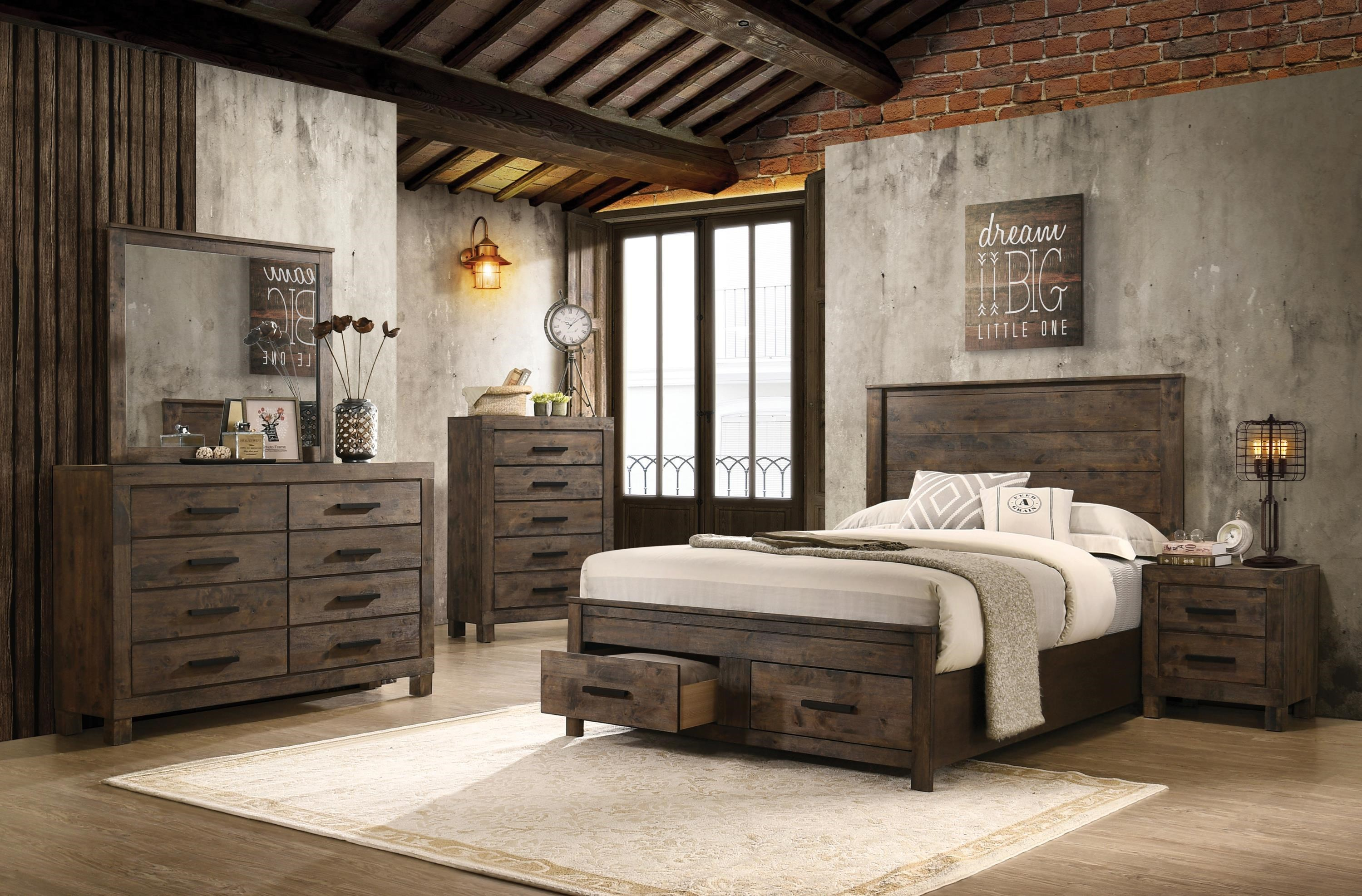 rustic brown 6 piece king bedroom set