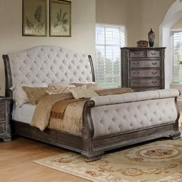Crown Mark Sheffield Upholstered King Sleigh Bed With Button Tufting Royal Furniture Upholstered Beds