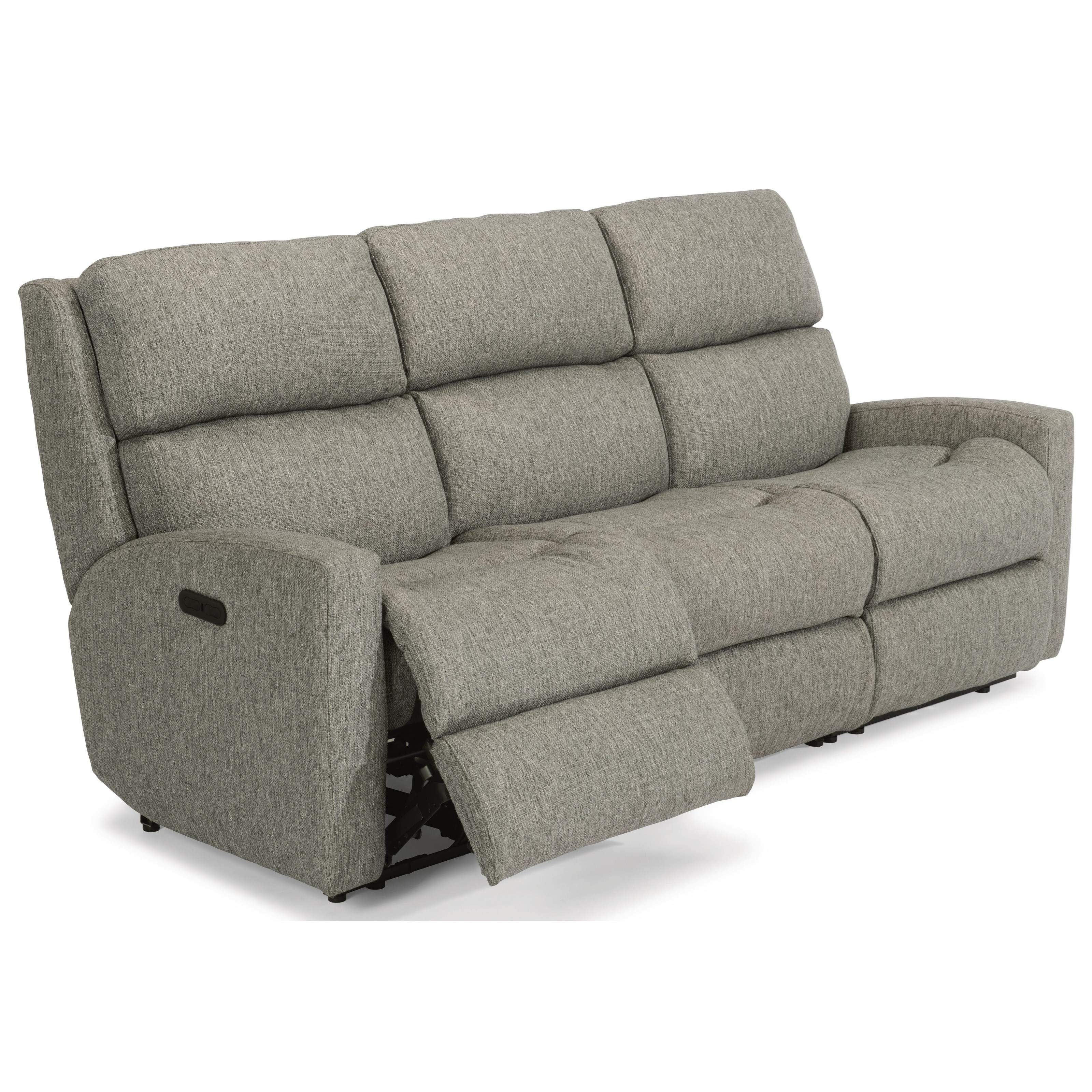 Flex Steel Recliners Leather Sofa With Nailheads