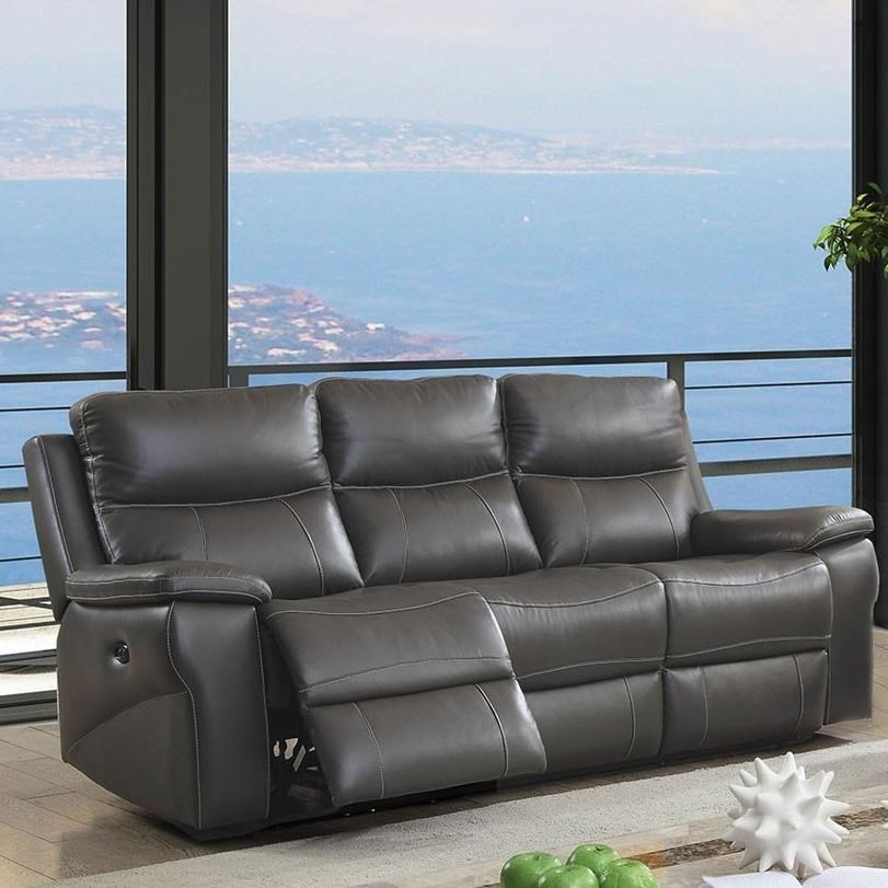 Lila Casual Leather Match Reclining Sofa By Furniture Of America At Rooms For Less