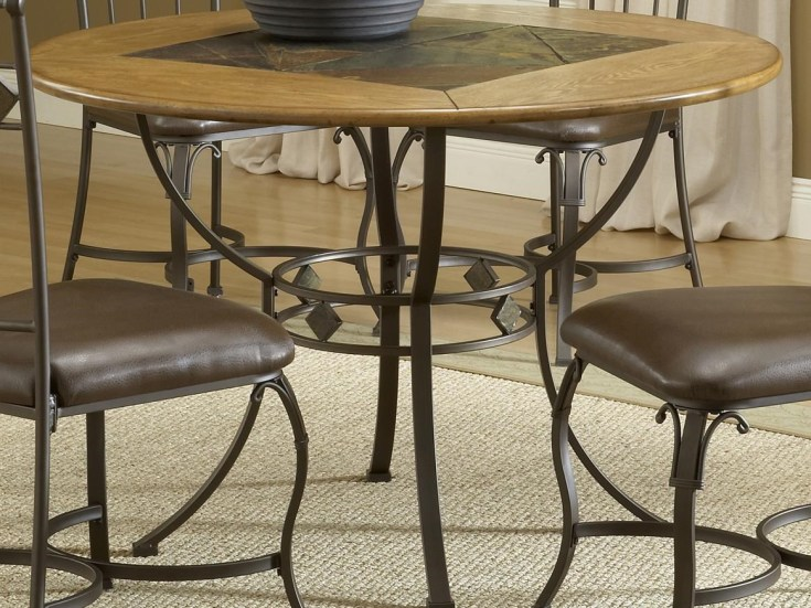 lakeview round wood & stone top dining table | rotmans | kitchen tables