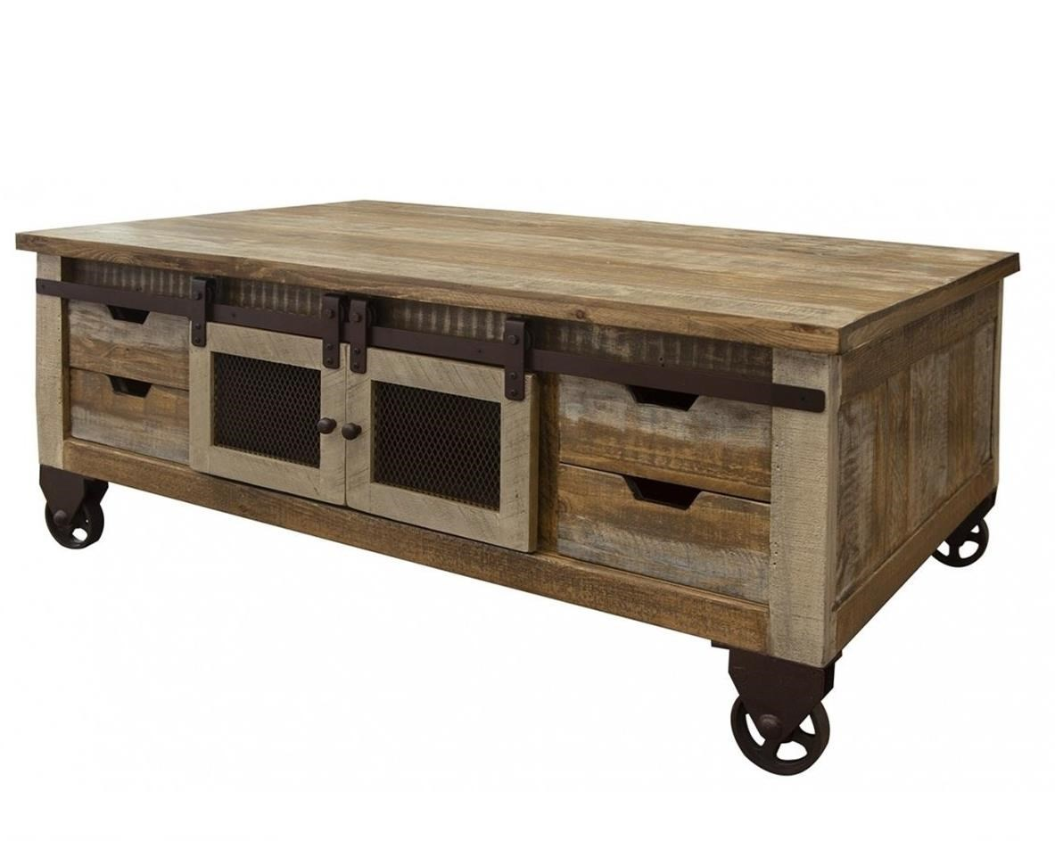 900 antique cocktail table with 4 doors and 8 drawers