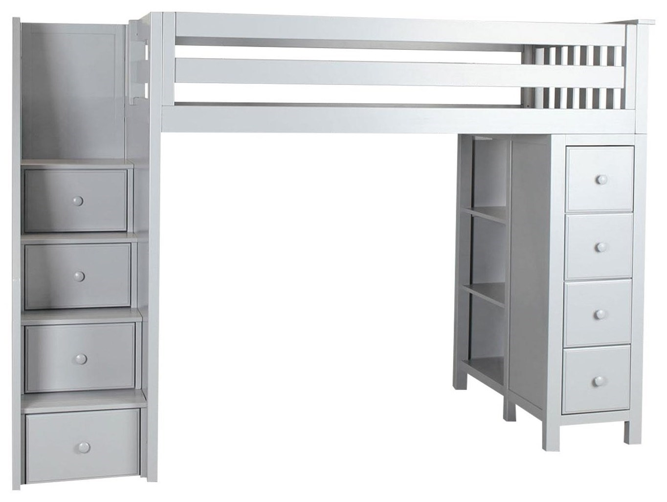 all in ones oxford twin staircase high loft bed in grey
