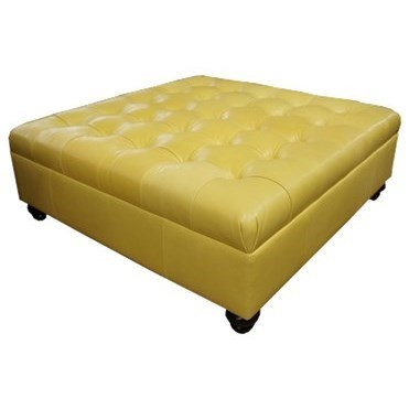 square leather tufted cocktail ottoman
