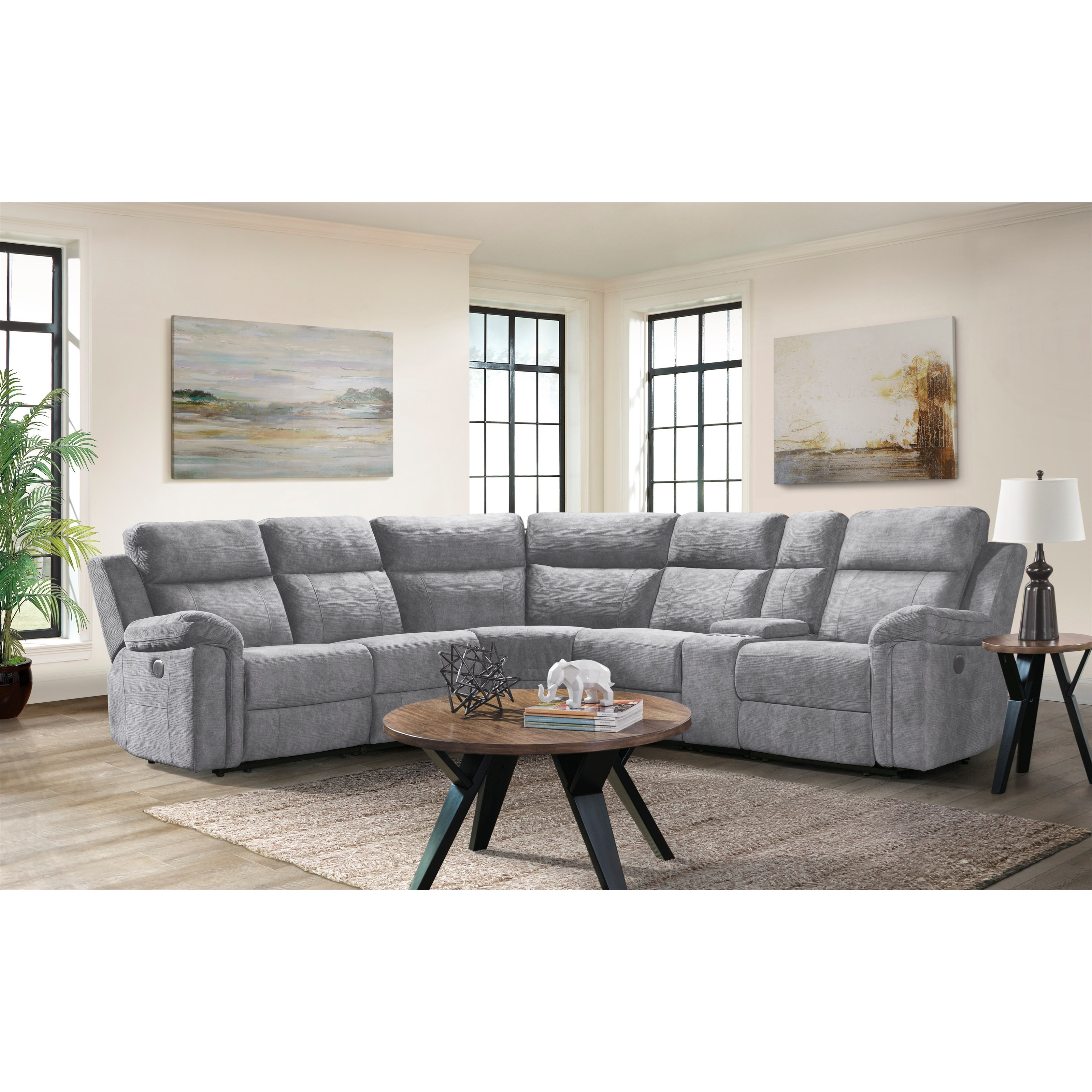 thomas 6 piece power reclining sectional sofa with cupholder storage console at walker s furniture