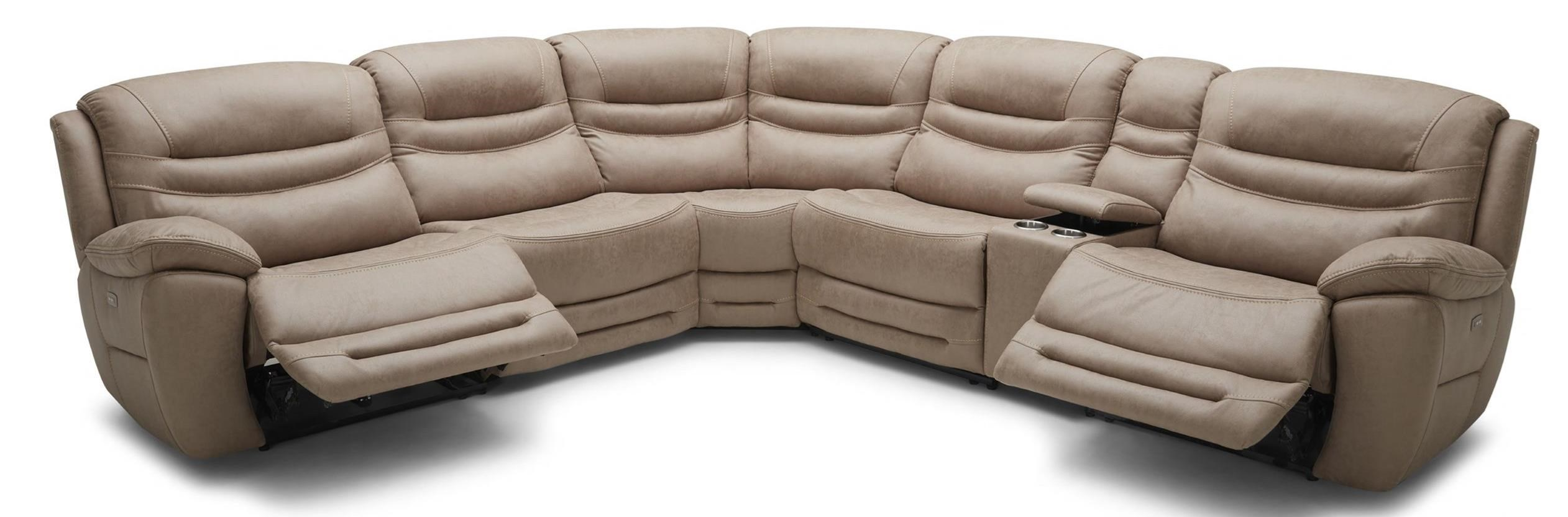 km083 six piece power console reclining sectional sofa with 3 recliners and power headrests by kuka home at beck s furniture