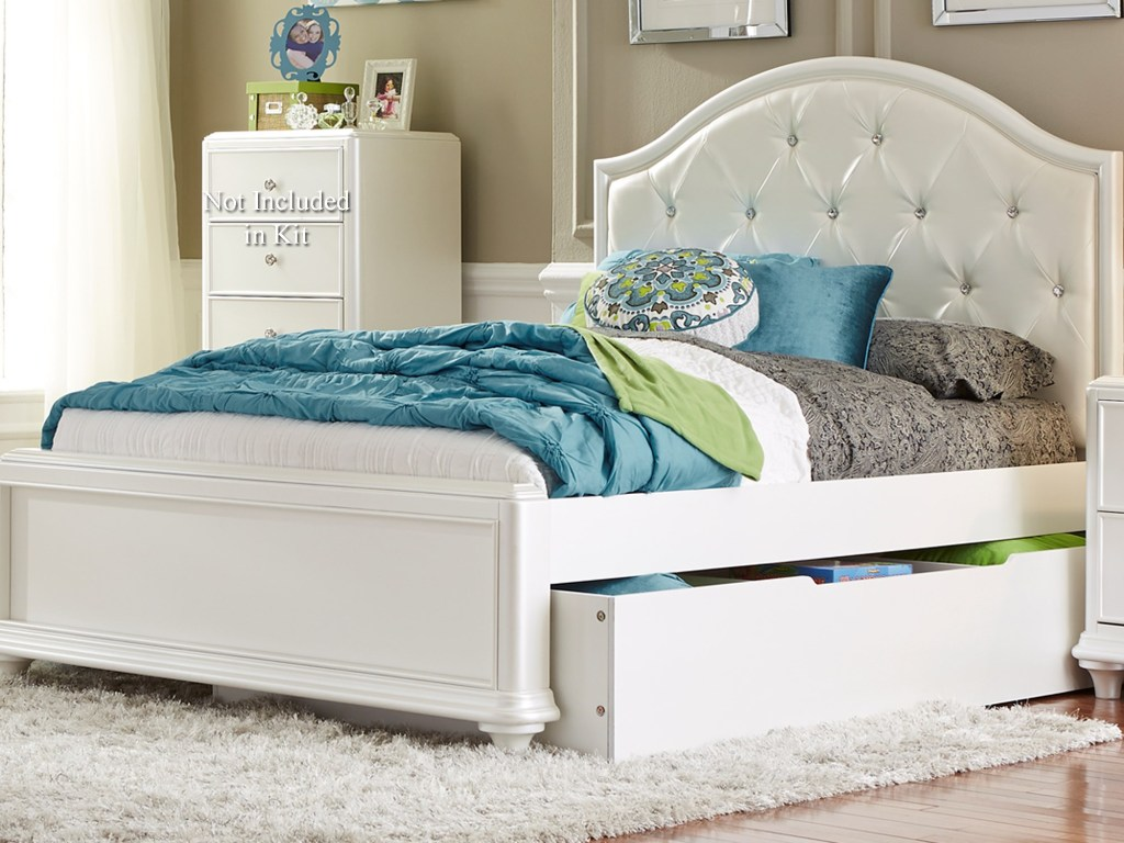 Stardust Twin Trundle Bed With Tufted Headboard