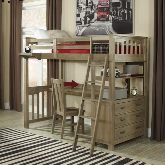 Ne Kids Highlands Mission Style Twin Loft Bed With Desk Westrich Furniture Appliances Loft Beds