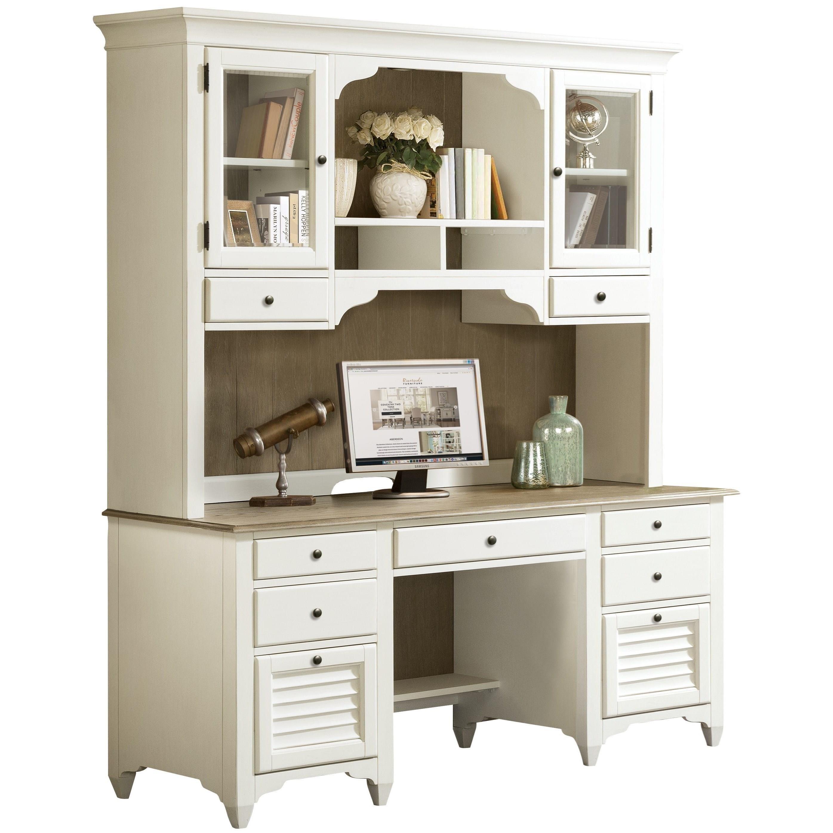 Riverside Furniture Myra Credenza Desk With Louvered Drawers Sheely S Furniture Appliance Double Pedestal Desks