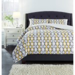 Signature Design By Ashley Bedding Sets Queen Mato Gray Yellow White Comforter Set Royal Furniture Bedding Sets