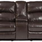 Signature Design By Ashley Damacio Dark Brown Leather Match Glider Recliner Power Loveseat W Console Royal Furniture Reclining Loveseats