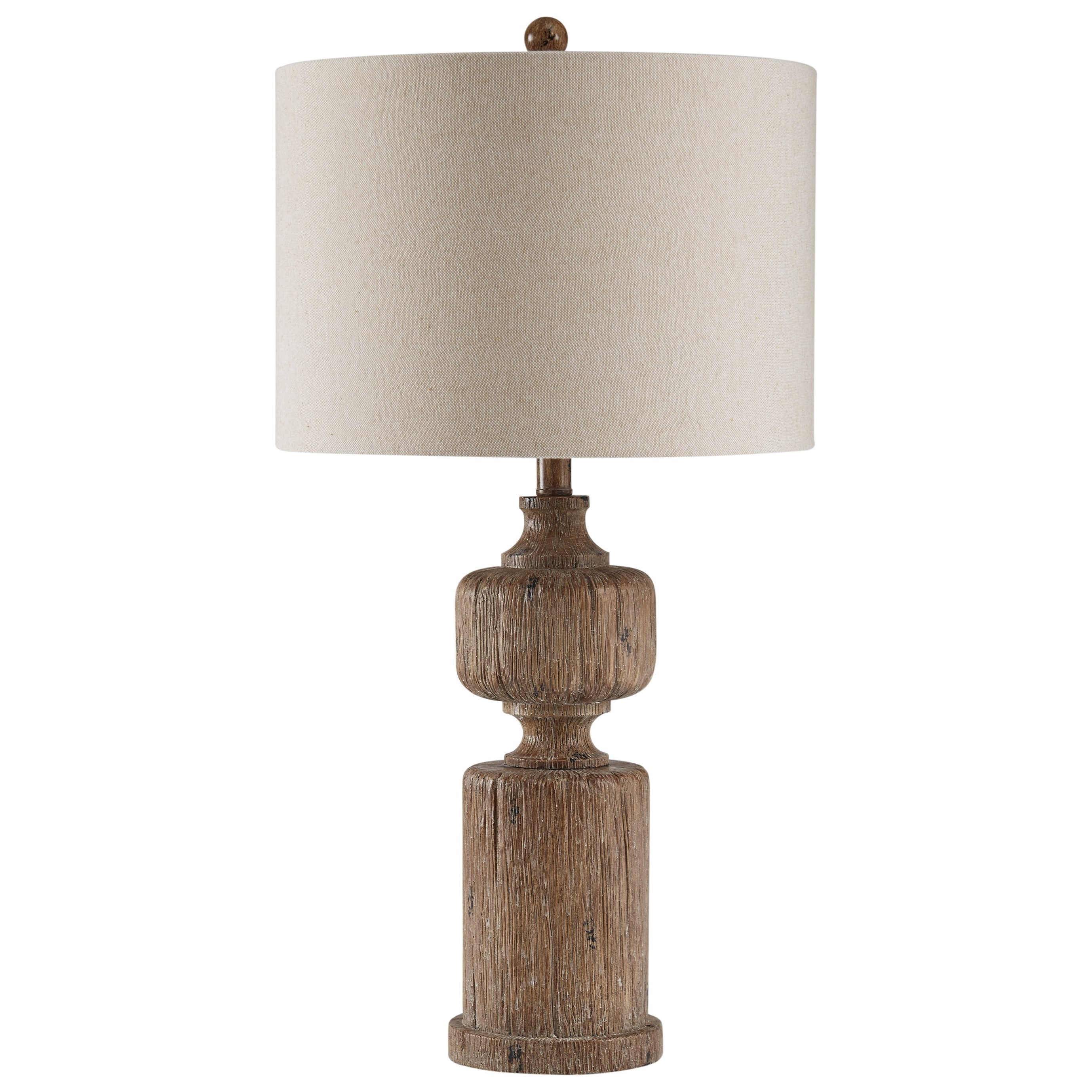 lamps vintage style madelief brown faux wood table lamp